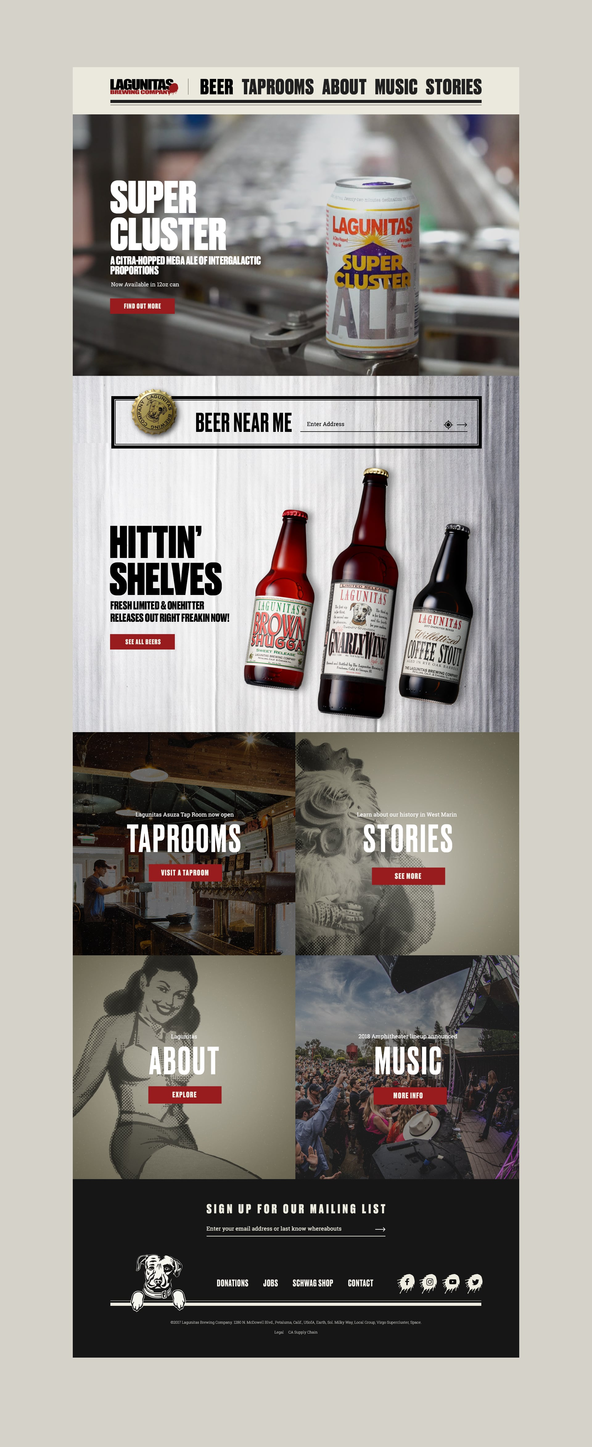 Lagunitas Brewing Company Website. Design and content crafted by Teak. A San-Francisco based branding and content studio.